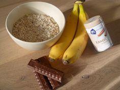 recept gezonde koekjes Havermout, kaneel, banaan Evt chocolade of rozijnen