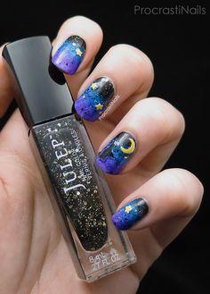Witching Hour nail art   ProcrastiNails