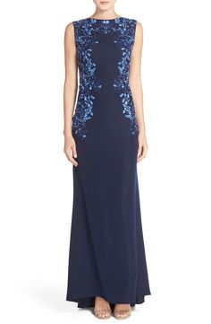 Tadashi Shoji Embroidered Crepe Gown available at #Nordstrom