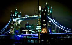 Tower Bridge at night from north bank