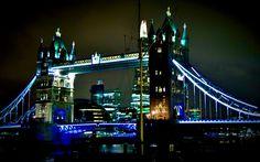 Tower Bridge at night from north bank