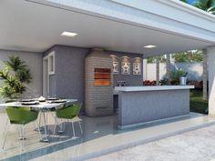 Varanda com churrasqueira e balcão Pool House Designs, Swimming Pool Designs, Outdoor Spaces, Outdoor Living, Outdoor Decor, House With Porch, My House, Pool Cabana, Luxury Kitchens