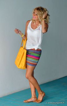 striped summer skirt with simple white shirt