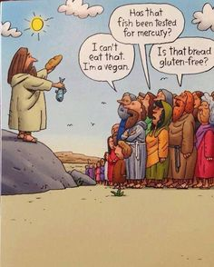 If Jesus tried to feed the 5000 today. (I'm not religious, but can appreciate the humour in this.)