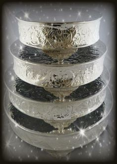 Silver Plated Wedding Cake Stands & Set of Three White Iron and Glass Cake Stands CBK http://www.amazon ...