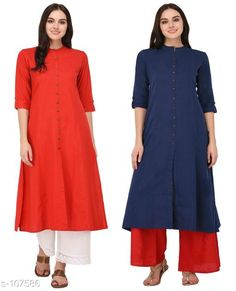 Kurtis & Kurtas Multicolored Cotton Kurti (Combo of 2)  *Fabric* Cotton  *Sleeves* Sleeves Are Included  *Size* XS, S, M, L, XL, XXL, 3XL,4XL ( Refer Size Chart For Details )  *Type* Stitched  *Description* It Has Combo of 2 Kurti  *Pattern* Solid  *Sizes Available* XS, S, M, L, XL, XXL, XXXL, 4XL *    Catalog Name: Solid Cotton Kurtis CatalogID_10640 C74-SC1001 Code: 949-107586-