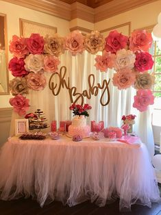 Baby Shower Cake Table Backdrop - Baby Girl Pink - Hochzeit deko - Baby Tips Décoration Baby Shower, Baby Shower Roses, Baby Shower Backdrop, Baby Girl Shower Themes, Gold Baby Showers, Baby Shower Princess, Girl Baby Shower Cakes, Pink Backdrop, Baby Shower For Girls