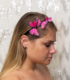 Garden Pink Butterfly Headband  forest fairy by neesiedesigns, $17.00