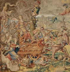 Detail showing the seven-headed dragon of the apocalypse (in the upper left-hand corner and again pulling the cart) from the Pride tapestry in a set of the Seven Deadly Sins. Designed by Pieter Coecke van Aelst, ca. 1532–34.