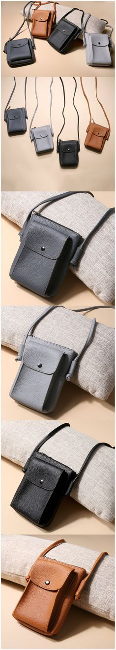 [$ 9.88]   Women Vintage 6inch Phone Bag PU Leather Outdoor Light Shoulder Bags Crossbody Bags