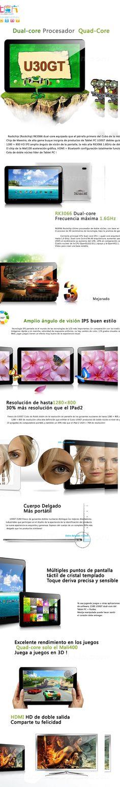 CUBE U30GT RK3066 Dual-Core-1.6GHz Tablet PC android 4.1 de 10,1 pulgadas HD pantalla IPS Quad, Pc Android, Display, Quad Bike