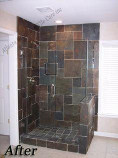 tiled shower with natural stone tile craftsman bathroom