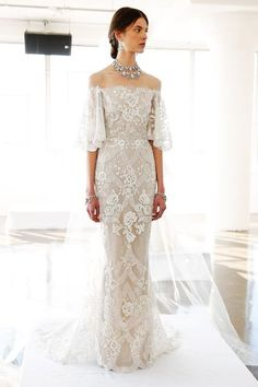 The off-the-shoulder trend has already infiltrated seemingly every runway show and fast-fashion retailer — the bridal market has plenty of clavicle-baring options too. This Marchesa number proves that lace doesn't always have to look so precious. Yes, you can definitely wear the classic fabric and still look fashion-forward. #refinery29 http://www.refinery29.com/2016/04/108940/wedding-dresses-bridal-fashion-week-2016#slide-9