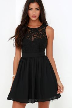 Date night will be your favorite night because it will mean you can bust out the Truth and Fiction Black Lace Skater Dress! A padded sweetheart bodice is topped by a sheer lace decolletage. Flattering, banded waist introduces a gathered woven skirt below, including a tulle lining for extra volume. Back keyhole with top button. Hidden back zipper. Front of bodice and skirt are lined. 100% Polyester. Hand Wash Cold.