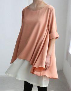 Orange pink dress Two Layers chiffon shirt dress Flowing chiffon Sundress via Etsy