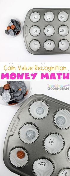 This Coin Recognition and Counting Activity is a fun way of sorting coin money. Learning to count money is boring the regular way. This is exciting for the kids. Teaching Money, Teaching Time, Teaching Math, Teaching Ideas, Creative Teaching, Money Activities, Counting Activities, Teaching Second Grade, Second Grade Math