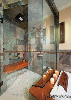 The cramped showers of old have given way to large walk-in shower stalls.