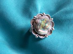 Vintage Sterling Silver 925 Size 7.5 Abalone Shell Ring by walkingwithjulann on Etsy