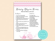 Nursery Rhyme Game, Nursery Rhyme Matching Game, Baby Girl, Pink Whale Baby  Shower Games Printable, Baby Shower Activities, Download TLC117