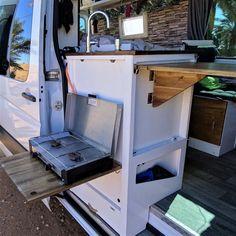 Van Conversion Interior, Camper Van Conversion Diy, Van Interior, Sprinter Camper, Bus Camper, Camper Life, Trailers Camping, Minivan Camping, Camper Van Kitchen