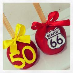 Viva os 50 anos do Ricardo com Route 66! #macasdecoradas #macas #route66 #50anos #festaroute66