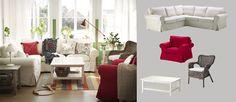 EKTORP-kulmasohva, jossa beige Svanby-päällinen, ja valkoiseksi petsattu HEMNES-sohvapöytä