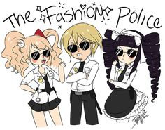 dangan ronpa au where Togami, Junko and Celes are the fashion police and they walk around with cool shades and execute anyone who commits crimes against fashion