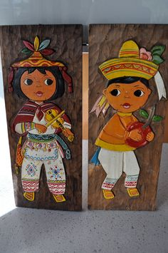 Mexico Mayan Children Wall Hanging Vintage set of 2 style Hand Carved
