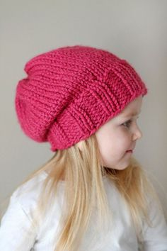 Knitted Slouchy Hat@ashleyfeit... Now that u live back in the Midwest, you need to make Emily one of these:)