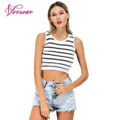 a02cb422ef0af Find More Tank Tops Information about Versear Summer Crop Tops for Women  2018 Sexy Knitted Stripe