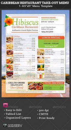 Jamaican Restaurant Menu Flyer Template  Jamaican Restaurant
