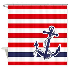 Nautical Anchor Stripe Red Shower Curtain on CafePress.com
