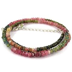 925 Sterling Silver Natural Tourmaline Gemstone Beads Strand Necklace Size 18 ** Read more at the affiliate link Amazon.com on image.