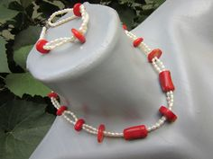 Beaded Necklace, Coral, Vintage, Jewelry, Fashion, Beaded Collar, Moda, Jewlery, Pearl Necklace