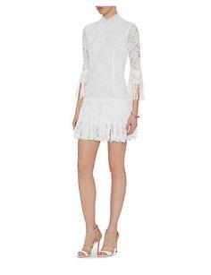 Alexis Sonia Frayed Fringe High Neck Lace Dress