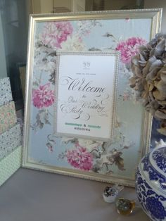 Welcome board with color schemed fabric. Wedding Welcome Board, Welcome Boards, Wedding Notes, Wedding Signs, Wedding Ideas, Blue Bird, Color Schemes, Wedding Flowers, Dream Wedding