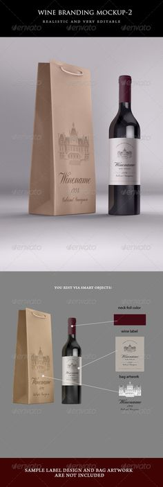 Wine Bag and Bottle Mockup — Photoshop PSD #brown #bag • Available here → https://graphicriver.net/item/wine-bag-and-bottle-mockup/4967699?ref=pxcr