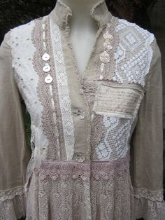 Vintage Kitty romance COAT  lace roses by sistersroseandruby, $379.00