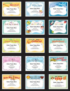 Kid Certificates Milestones – 15 awards to recognize some important days in a kid's life. These awards are great for a any milestone ranging from graduating preschool to learning to read! Kid Certificates Milestones - Learn to Swim & Ride a Bike Awards Award Certificates, Certificate Templates, Perfect Attendance Certificate, Kids Awards, Award Template, Babysitting Activities, Teacher Certification, Volleyball Workouts, Diy Gifts For Dad