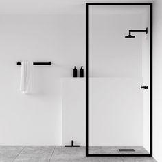 Scandinavian bathroom, minimalist bathroom, white and black bathroom Minimalist Bathroom Design, Minimalist Interior, Minimalist Decor, Bathroom Interior Design, Minimal Bathroom, Bathroom Black, Peach Bathroom, Modern White Bathroom, Modern Shower
