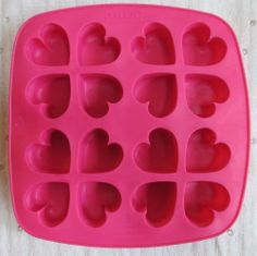 IKEA Pink HEARTS Ice Cube Tray Jell-O chocolate candy mold silicone mold
