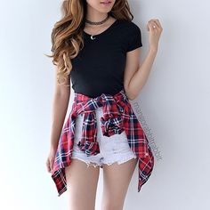 High quality and sturdy flannel shirt, great for the fall, but o so cute when tied around your waist!! Material: Cotton Feels: Light, soft and a bit fuzzy :)