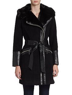 Black Faux Fur Collar Coat @ Saks Off 5th $200