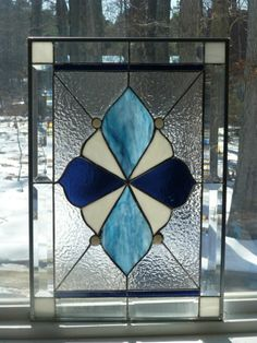 Blue/White/Aqua!!- Bow Tie  Stained Glass & Beveled Window Panel-Made in USA!