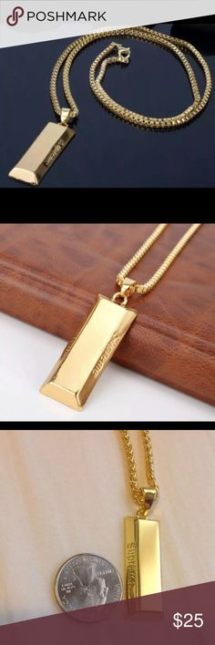 "🏅 2 Men's Supreme Uzi Gold Bar Necklace 🏅 Brand New 🏅 You will get 2 Necklaces with your order 🏅 Both 24 Inches long 🏅 They are gold Plated ""NOT SOLID"" 🏅 I will ship the same or next day Supreme Accessories Jewelry"