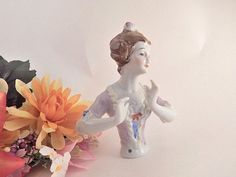Half Body Pin Cushion Doll Figurine French Provincial Womens Bust Hand Painted Porcelain Antique 1930's Doll Making Craft Supply Boudoir Decor