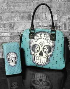 Sugar Skull purse and wallet in aqua with black and white accents Candy Skulls, Sugar Skulls, Skull Purse, Skull Shoes, Skull Fashion, Punk Fashion, Lolita Fashion, Skull And Bones, Skull Art
