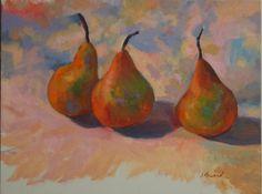 "Three Pears by Janet Howard-Fatta | $250 | 12""w x 9""h | Original Art | http://www.vangoart.co/buy/art/three-pears @VangoArt"