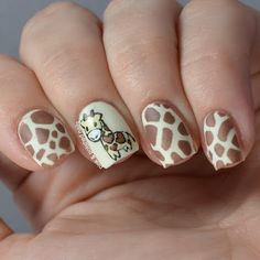 It's been so freaking long since of done some free hand nail art. Animal Nail Designs, Animal Nail Art, Fingernail Designs, Cute Nail Designs, Giraffe Nails, Deer Nails, Funky Nails, Cute Nails, Pretty Nails