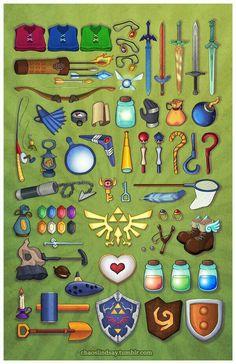 Gran parte del arsenal de armas y equipo que se puede utilizar en la saga de TLOZ